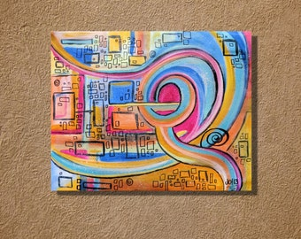 Think Outside the Box Original Ink Painting Acrylic Painting 16 x 20