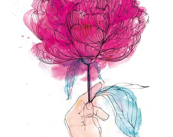 Just for You - Peony archival Wall art print by Sweet William - Small and Medium size