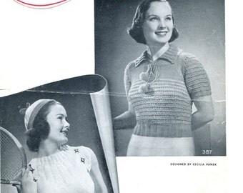 1938 American Thread Company leaflet knitting pattern PDF