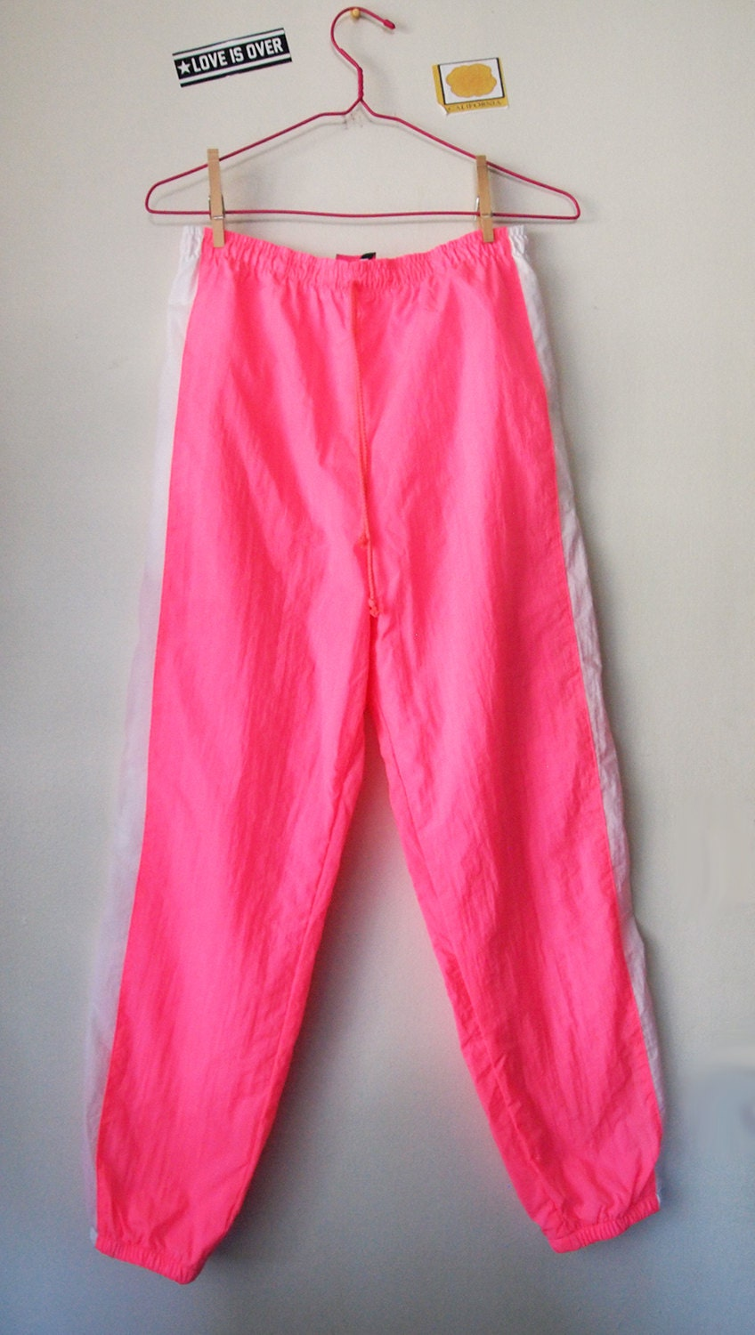 Neon Pink Vintage 90s Joggers Track Pants By Gitano Workout