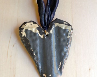 Antique Ceiling Tin Ornament / Gray  Heart / Architectural Salvage