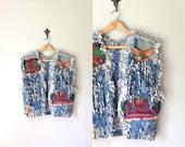 Vintage FOLK Vest •Unique Handmade Artisan Jean Jacket Beaded Fringe •Woven Craft Sleeveless Wrangler Denim Coat •Women Men Small Medium