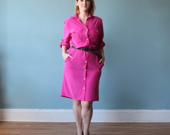 plus size dress/ pink shirt dress/ 1980s/ xl