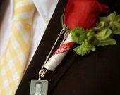 Boutonniere Pin / Corsage Pin Photo Charm - Medium Memorial Charm - BP2