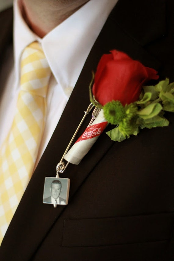 Boutonniere Pin / Corsage Pin Photo Charm - Medium Memorial Charm - BP2