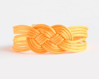 Neon orange large double infinity knotted nautical rope bracelet