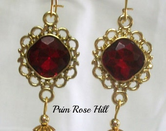 ROSES FOR YOU  dangle earrings with garnet siam beads
