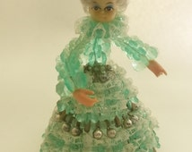 Vintage Green Saftey Pin Beaded Doll