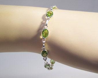 SALE ~Peridot Sterling Gemstone Bracelet