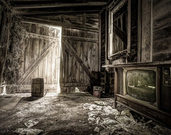 Inside Leo's Apple Barn, Vintage Television, Old Newspapers, Barrel, crate, Sepia, Rustic Interior, Fine Art Photography Print