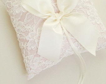 Ivory and Blush Lace Ring Bearer Pillow - Alencon Lace Ring Bearer Pillow
