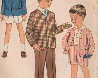 1960s Simplicity 3330 Vintage Sewing Pattern Boy's Suit, Tailored Jacket, Pants, Shorts Size 4