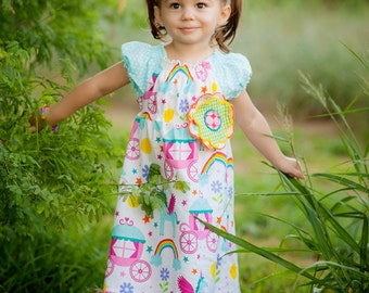 Playful Peasant Dress - Girls Peasant Dress - Unicorn Dress - Princess Dress
