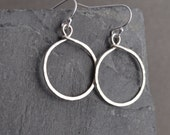 Handmade hammered small sterling hoop earrings