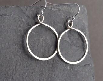 Handmade hammered small sterling hoop earrings