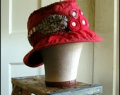 Red Tattered Wide Brimmed Hat with Rosettes and Vintage Buttons