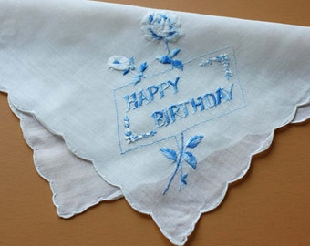 Vintage Handkerchief with Happy Birthday and Rose Embroidery