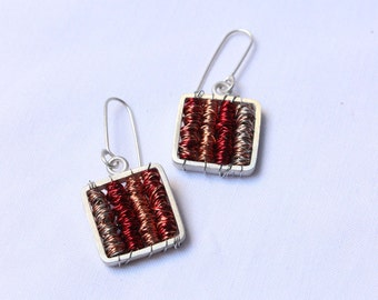 Steampunk earrings, Tangle Red earrings are made Sterling silver and copper, choose the length you want.
