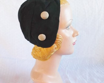 1930's Vintage Black Head Hugging Hat with Decorative Buttons