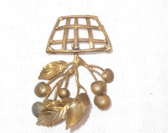 20's 30's Vintage Brass Cherry Basket Brooch Pin