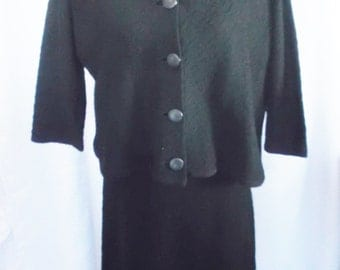 50's 60's Vintage Black Knit Dress and Jacket Combo Large XL Koldin Original 38-42 Bust