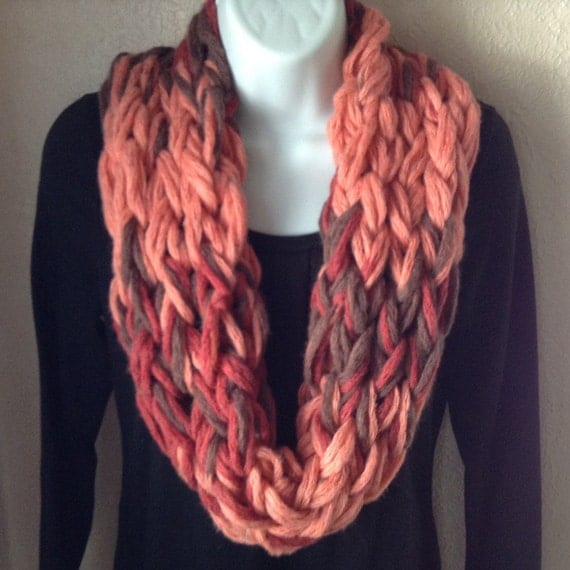 Arm Knit Scarf/Arm Knit Infinity/Orange and by SignsFromTheHeart