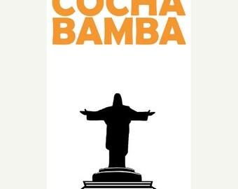Cochabamba Poster (12x18 / 13x19) Cochabamba Travel Art Bolivia