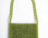 SALE..Vintage 60s Bead Shoulder Bag / Green Lucite Bead Vintage 1960s Purse / Lime Green Woven Beads / Retro Style Handbag