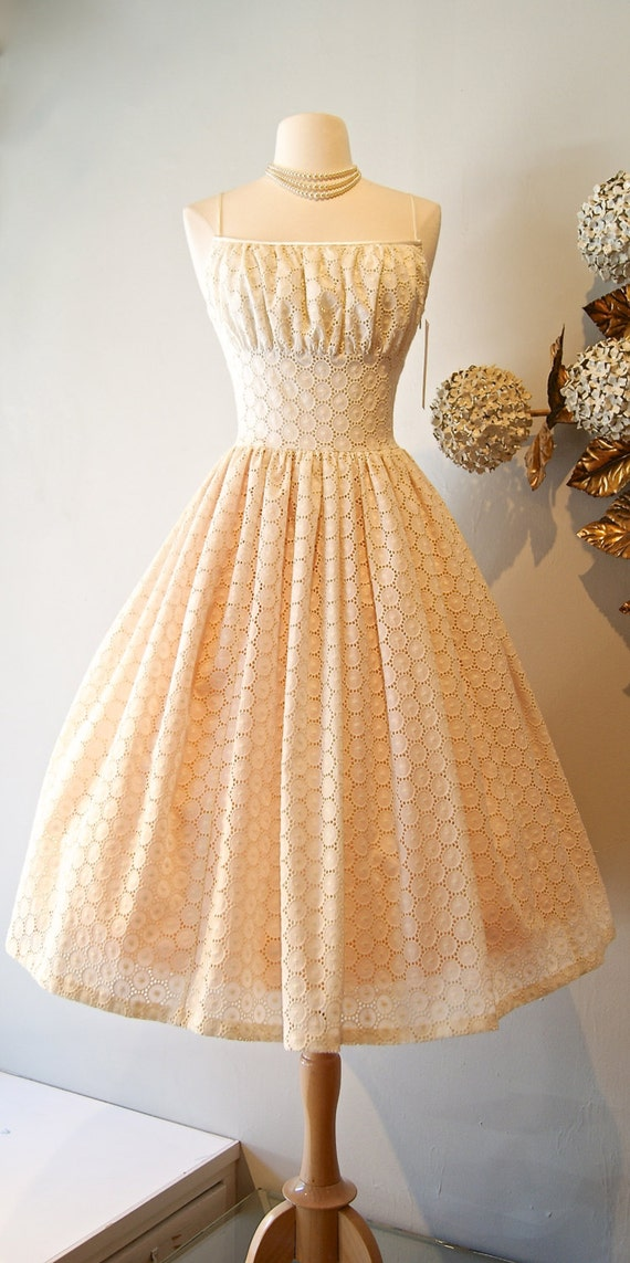 50s Style Cotton Eyelet Wedding Dress Xtabay By