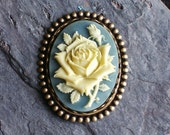 Rose flower cameo brooch, vintage blue and ivory brooch, antique brass brooch, holiday gift ideas, gift ideas for mom, unique Christmas gift