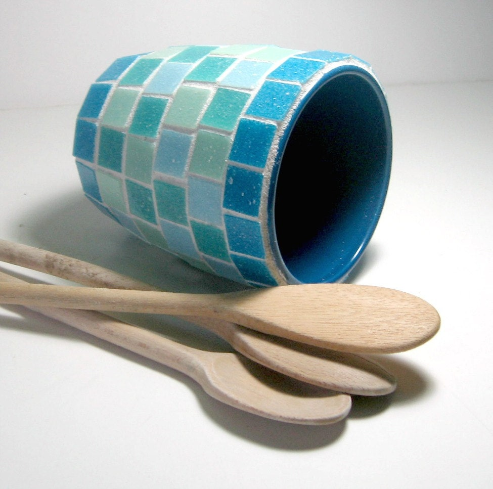 Aqua Turquoise Mosaic Utensil Holder Mosaic Vase Mosaic Pot