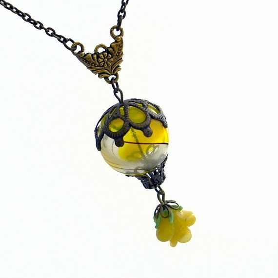 Beautiful Balloon - Hot Air Balloon Airship with Rose Pendant Necklace Jewelry Jewellery