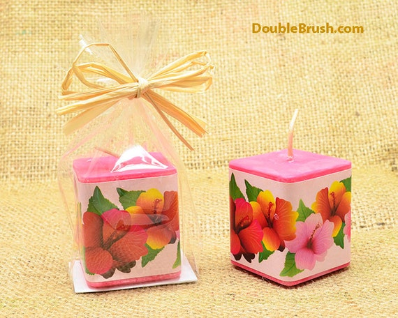 Hawaiian Wedding Gift Ideas: Hibiscus Candle Hawaiian Party Favor Hawaiian Candle Tropical
