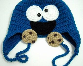 Cookie Monster Inspired Earflap Hat, Handmade Beanie