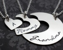 Personalized Three Generation Necklace Set - Grandmother, Daughter, Granddaughter - Hand Cut Hearts Design in Sterling Silver by EWD