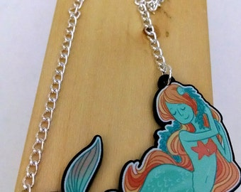 Green Mermaid acrylic charm necklace