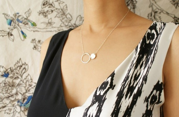 Silver Eclipse necklace, minimal jewelry, two circles necklace,  everyday dainty necklace