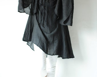Lost in time...linen/cotton .Black.... long sleeve / maternity / urban / Japanese / Boho...(1447)