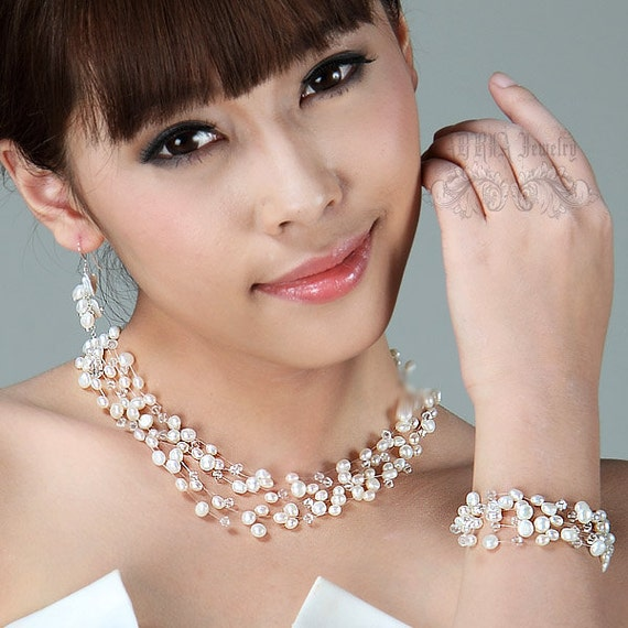 Floating Pearls Bridal Jewelry Sets, Wedding Jewelry Sets White  Fresh Water Pearls Multistrands Pearls Silver Wedding jewellery Sets
