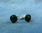 Dark Green Cthulhu Cuff Links, Polymer Clay Lovecraft Accessories