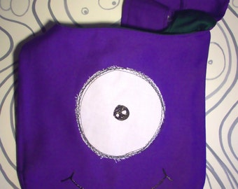 Monster Hip Bag Purple Shoulder Strap cyclops alien face one of a kind hand sewn lowbrow Cartoon fun Purse 7x8