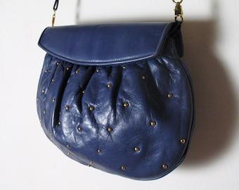 1980s COBALT BLUE soft Italian leather STUDDED purse clutch
