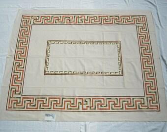Vintage Simtex Tablecloth Groovy Greek Key MWT