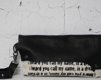 Black Leather Wristlet Clutch Bag / Poetry Text Printed Handbag / Leather Wristlet Purse