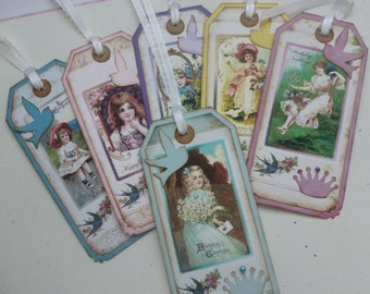 Shabby chic birthday tags vintage style children pastel colors floral garden crown birdie bookmarks - set of 6