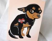 Custom Chihuahua Tattoo Greeting Card - Tan and Black