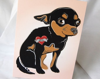 Custom Chihuahua Tattoo Greeting Card - Tan and Black