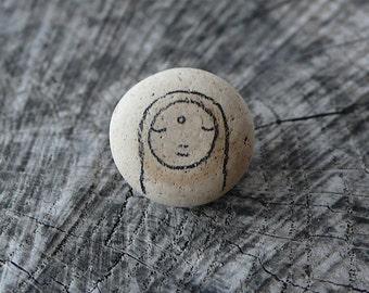 Beach Pottery Knob - Jizo Bodhisattva Icon