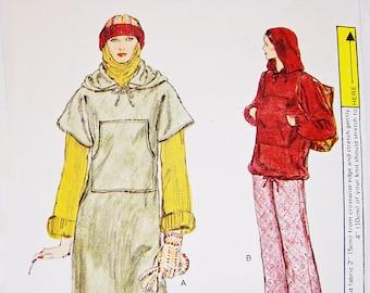 1970 Vogue Hooded Dress Pattern Misses size 8 UNCUT Loose fit Hooded Dress or Hooded Top, Pants Vintage Pattern