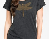 Dragonfly Women's Graphic Tee, Gold Print Steampunk, Jeweled Dragonfly, Dolman short sleeve, Gift for Her
